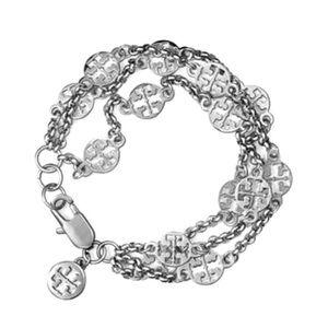 Tory Burch Triple Strand Silver Logo Bracelet